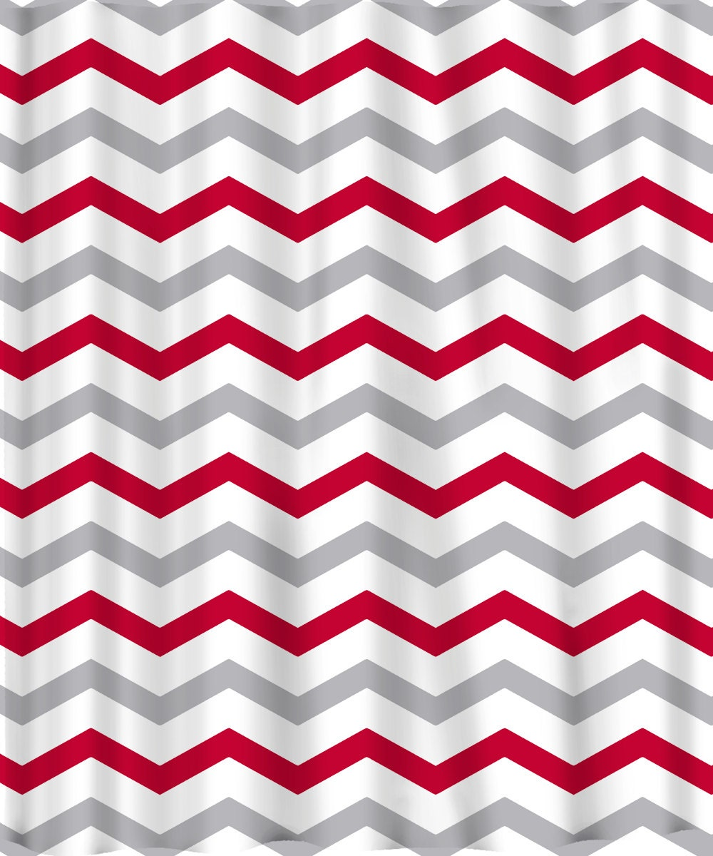 Custom Colors Shower Curtain Chevron Red Grey And By Redbeauty