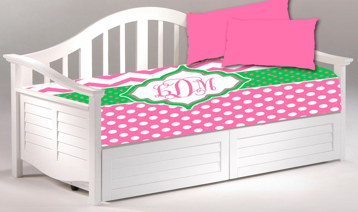 Daybed Twin Custom Duvet Cover And 2 Shams Shown In Hot Pink
