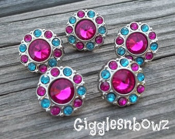 RHINESTONE BUTTONS Two-Tone Turquoise and Shocking Pink- Set of FIVE Petite Size 15mm