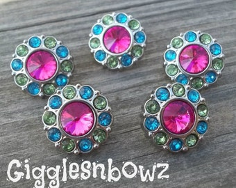 Sale!! Rhinestone Buttons 5 Pc- SHoCKiNG PiNK Multi COLOR Acrylic Rhinestone Buttons 18mm Flower Centers, Diy Headband and Hairbow Supplies