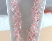 FREE SHIPPING -- Lt Rose Luster Party Necklace