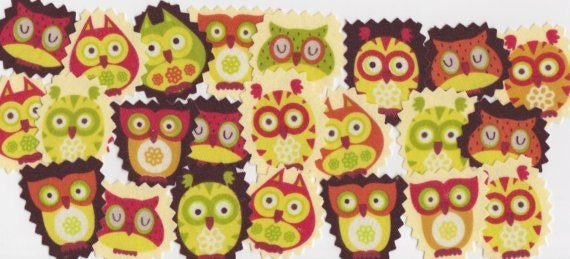 Mixed Set of 6 Owls and Trees Diy Fabric Iron On Appliques