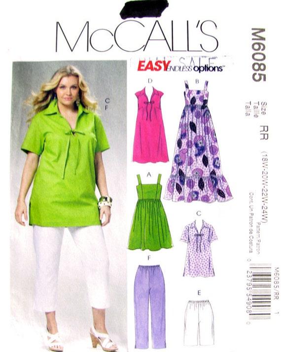 Tops Dress Shorts & Capris Plus Size Pattern McCalls 6085 UNCUT Bust 40 to 46