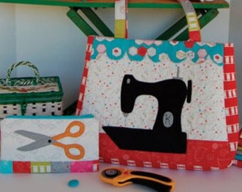 Gone Sewing, tote bag, pouches pattern by Buttons & Bees