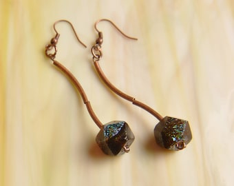 Handmade Dichroic Glass Earrings Copper Noodles ...free shipping...