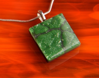 PRICE DROP Handmade Dichroic Silver Fused Silver Glass Pendant Necklace