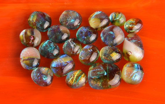 Handmade Dichroic Fused Glass Cabs Cabochons Beads lot of 20