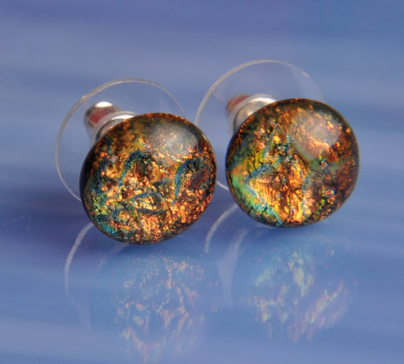 Handmade Dichroic Fused Glass Earrings Silver Studs ...color changing...