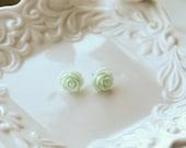 Mint Cabochon rose flower earrings