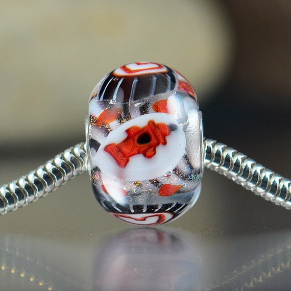 Handmade large hole lampwork glass bead sterling silver core - European Charm Bead - troll chamilia biagi bracelets - WE HEART FIREFIGHTERS