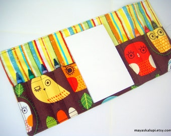 Mini Crayon Wallet - Owls in Retro - bird theme.party favor.toddler gift.crayon roll up - Crayons and Pad NOT INCLUDED