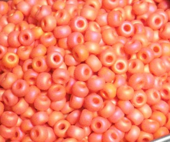 6/0 MIYUKI Japanese Seed Beads - Matte Opaque Coral AB - 20 Grams (300 beads)