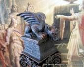 Stone Finish Verdigris Gargoyle dollhouse miniature, gothic, spooky, castle decor in 1/12 scale