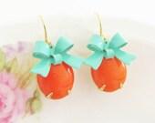 Tangerine Orange Turquoise Bow Earrings -Vintage Tangerine Orange Jewel and Turquoise Bow Dangle Earrings - Preppy, Wedding, Bridesmaid