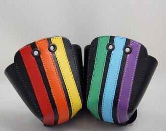DA-45 Leather Toe Guards with Rainbow Stripes