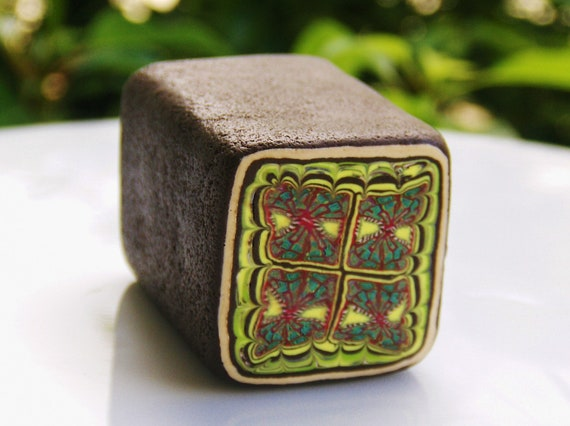 Large RAW Polymer Clay Cane - Sunshine Lace  Square - Brown and Yellow - Make Fashion Jewelry and Beads