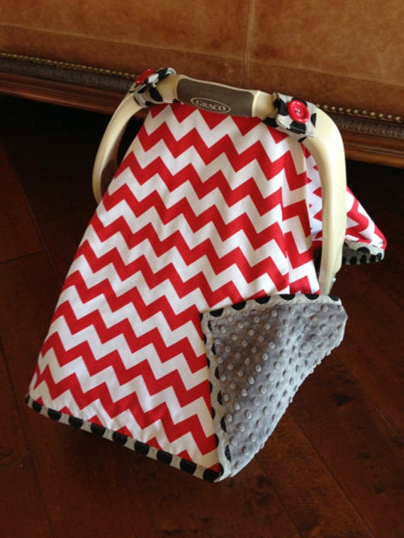 items similar to super cute baby car seat covers chevron in red and gray minky on etsy. Black Bedroom Furniture Sets. Home Design Ideas