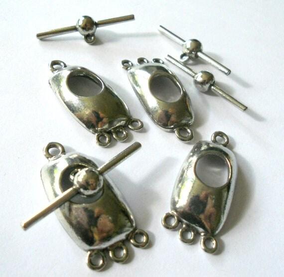 Silver toggle clasp, toggle clasp,triple toggle clasp, big toggle clasp, geometric clasp, bracelet clasp, 35mm X 14mm, 2pc