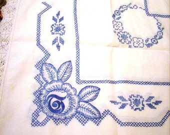 Vintage Tablecloth, Set with Napkins, Embroidered, Blue and White, Scandanavian, Wedding