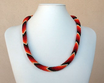 Red Spectrum Bead Crocheted Necklace