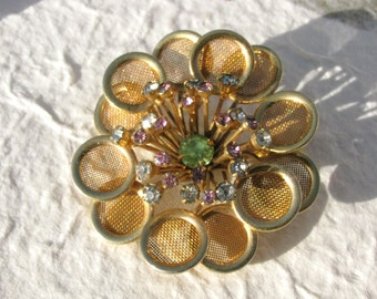 Mod Gold Tone Screen Flower Brooch with Rhinestones