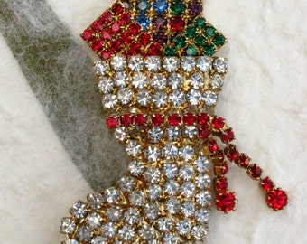 Rhinestone Christmas Stocking Brooch with Presents
