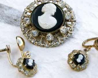 Vintage Coro Cameo Brooch and Earring Set with Rhinestones and Filigree