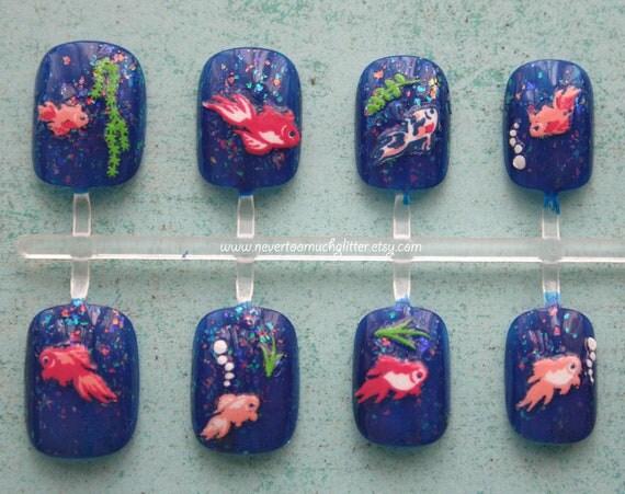 Japanese Nail Art- Fish Pond (Deep Blue)