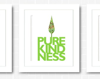 On Sale - Three 8x10 Digital Downloads - Pure Love, Pure Joy, Pure Kindness | Inspirational Quotes