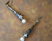 Brass Filigree Pearl Cone Earrings