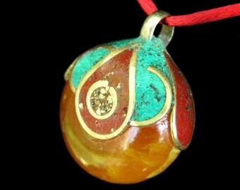 SALE - Tibetan Yellow Honey Resin Beeswax Bead Pendant Necklace