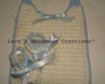 Bib and Bootie Set Trimmed in Blue