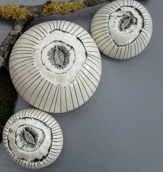 Three Ceramic Black and Cream White Barnacles Wall Art 2