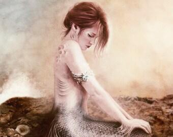 SALE Sea Faerie, Mermaid Art Print 8 x 10 inch, Red haired Shy Mermaid sitting on a rock