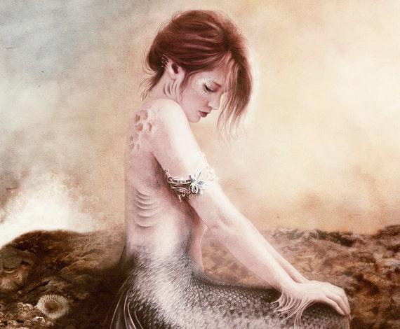 Sea Faerie, Mermaid Art Print 11 x 13 inch