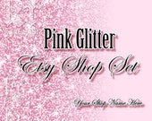 PINK GLITTER - (sp30053088) Premade Etsy Shop Set Images. Banner, Avatar, and Listing Images
