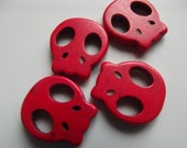 Red Skull Howlite Beads 20mm - 8 Pieces