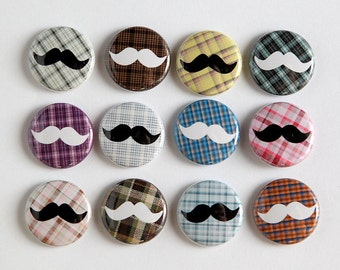 Mustache Plaids Set of 12 - Magnets 1 inch