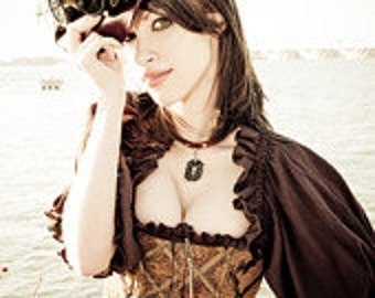 Brown and Gold Steampunk Corset Custom XS - 3X