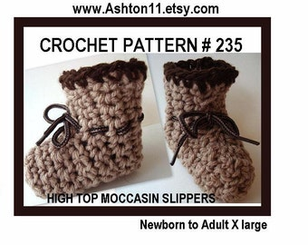 INSTANT DOWNLOAD Crochet Pattern PDF 235-High Top Moccasin Slippers-all sizes newborn to adult, ok to sell them