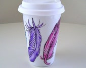 Ceramic Travel Mug Painted Feathers Pink Aqua Purple Yellow Modern Eco Friendly Illustrated Porcelain Tumbler - MADE TO ORDER