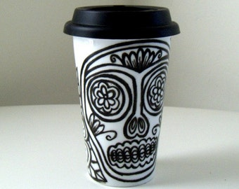 Ceramic Travel Mug Sugar Skull Flowers Mexican Folk Art Tattoo Day of the Dead Black White Hand Painted - MADE TO ORDER
