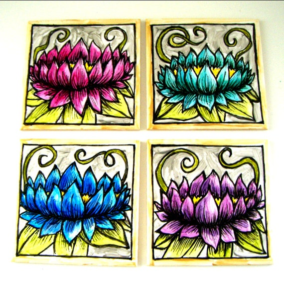 20% off Ceramic Coasters Art Tiles Painted Lotus Flowers Asian Gold Silver Pink Blue Green Purple - READY TO SHIP