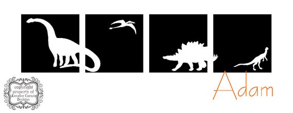 Dinosaur Block Set With Custom Name Vinyl Decal