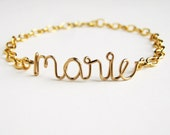 Custom Gold Name Bracelet. 14k Gold Fill Personalized Name Bracelet. Aziza Jewelry