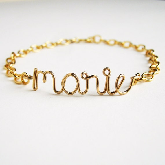 personalized gold name bracelet custom gold by azizajewelry