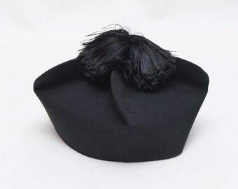 Clerical PRIEST BIRETTA Hat religious, ooak Costume SMALL