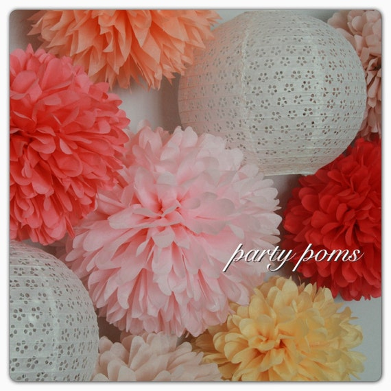 12 Tissue Poms .. Wedding Decorations / Birthday and Party Decor