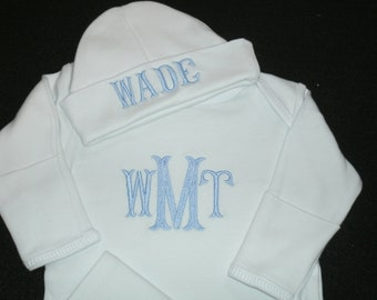 PERSONALIZED Comming Home Outfit  Infant Gown and Cap set Monogrammed