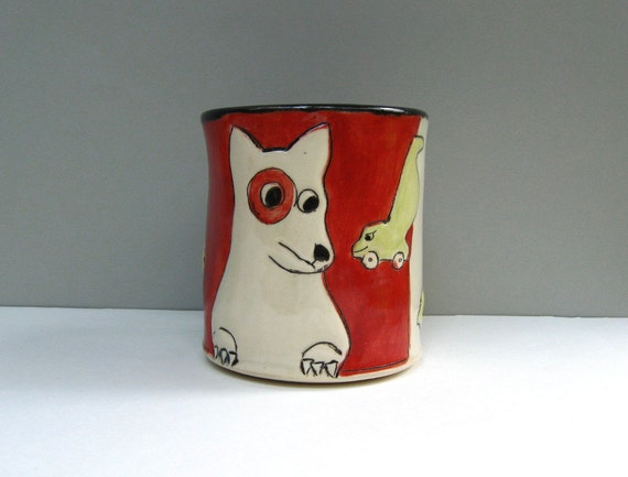 Dog Mug, Red, With Sinister Vacuum, Coffee Cup
